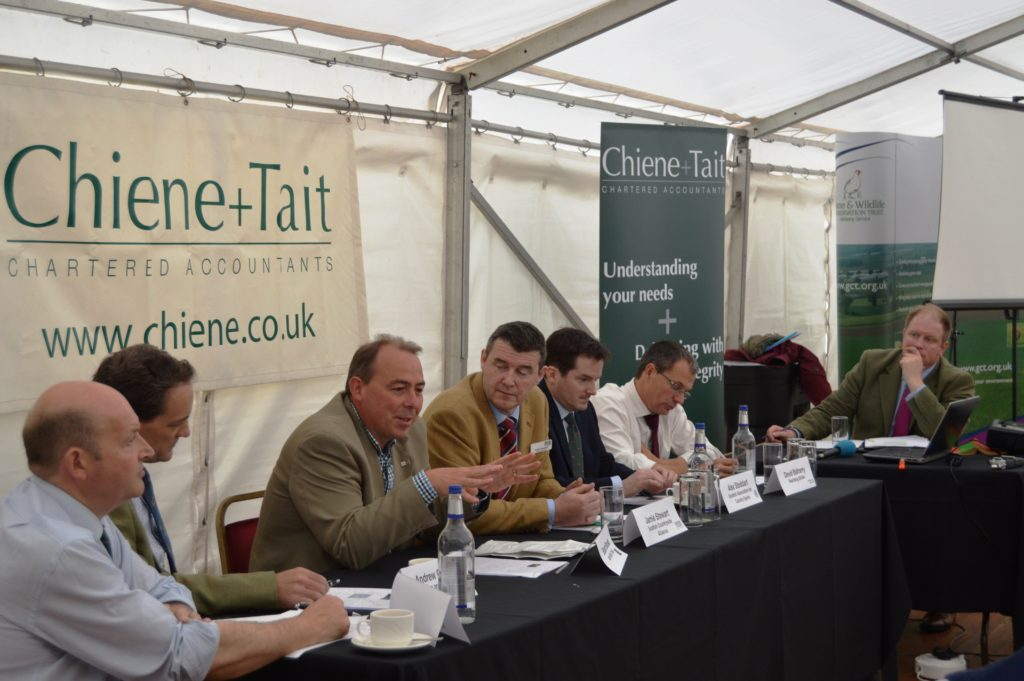 The panel at Chiene + Tait's Rewilding debate at the Scottish Game Fair 2016