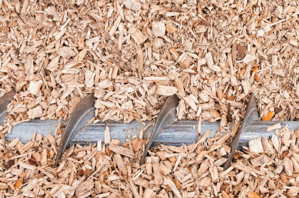 Woodchip being ground