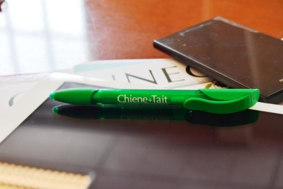 A Chiene + Tait pen next to a phone