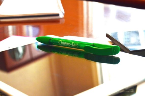 A Chiene + Tait pen resting atop an iPad