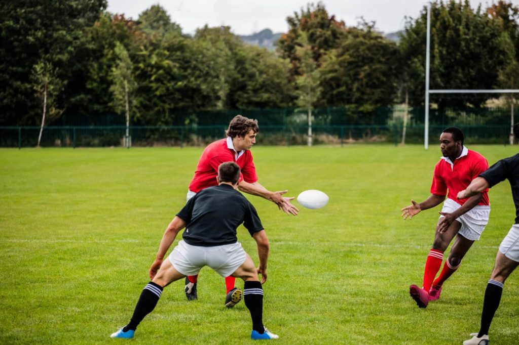 An amateur rugby game
