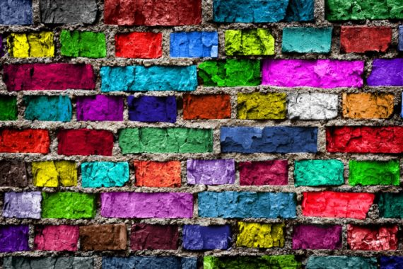 Colouful bricks in a wall