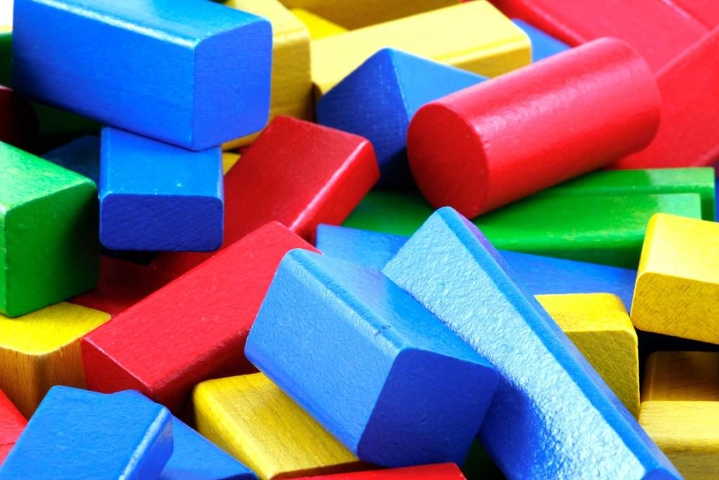 Colourful wooden building blocks