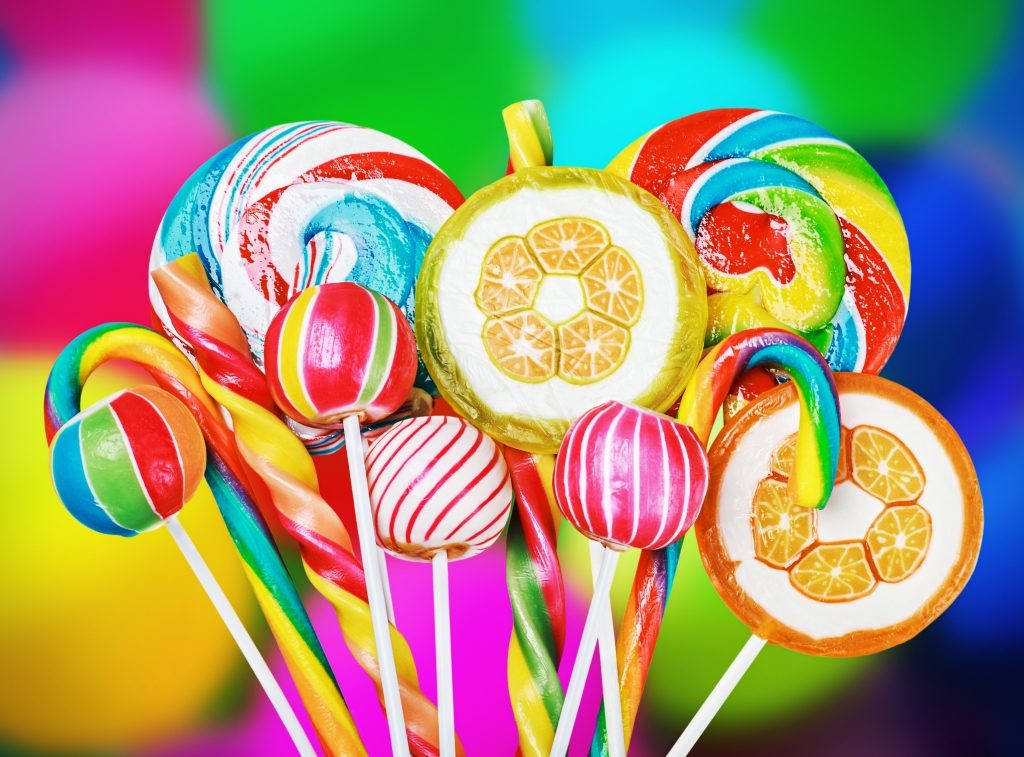 Colourful sweets on a colourful background