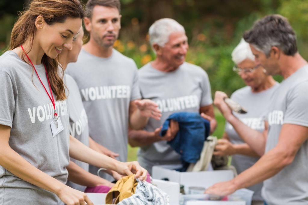 Volunteers at a community event