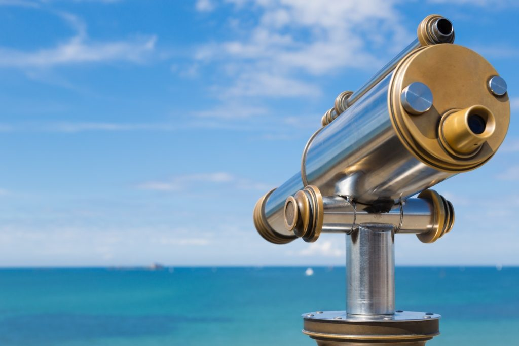 A telescope looking out to sea