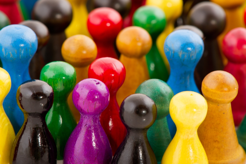 Coloured pegs clustered together