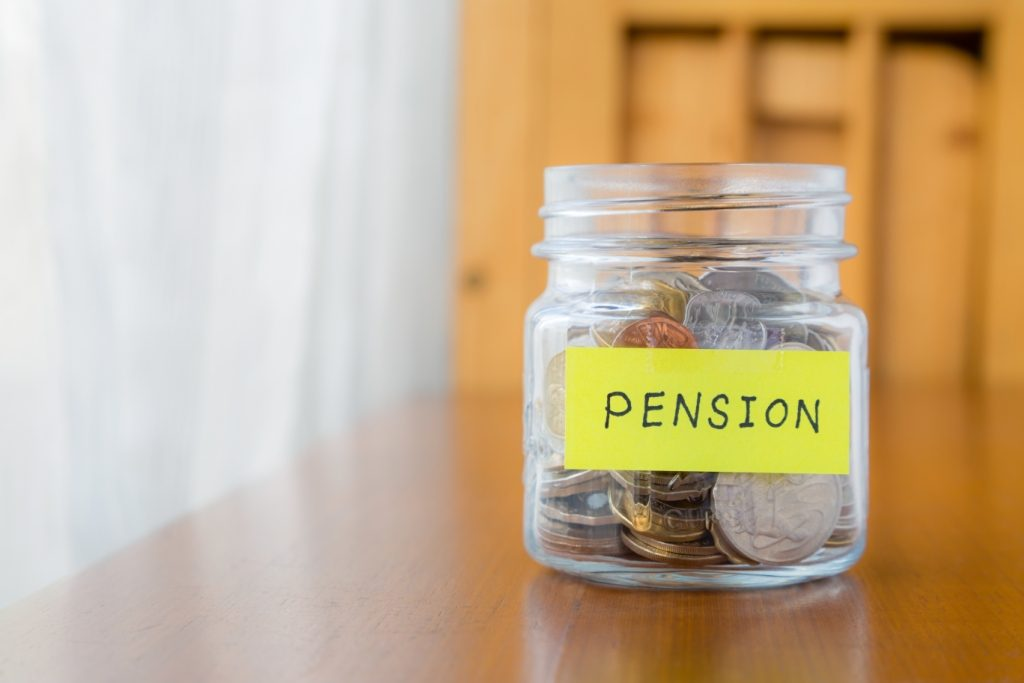 A jar of cash labelled 'Pension'