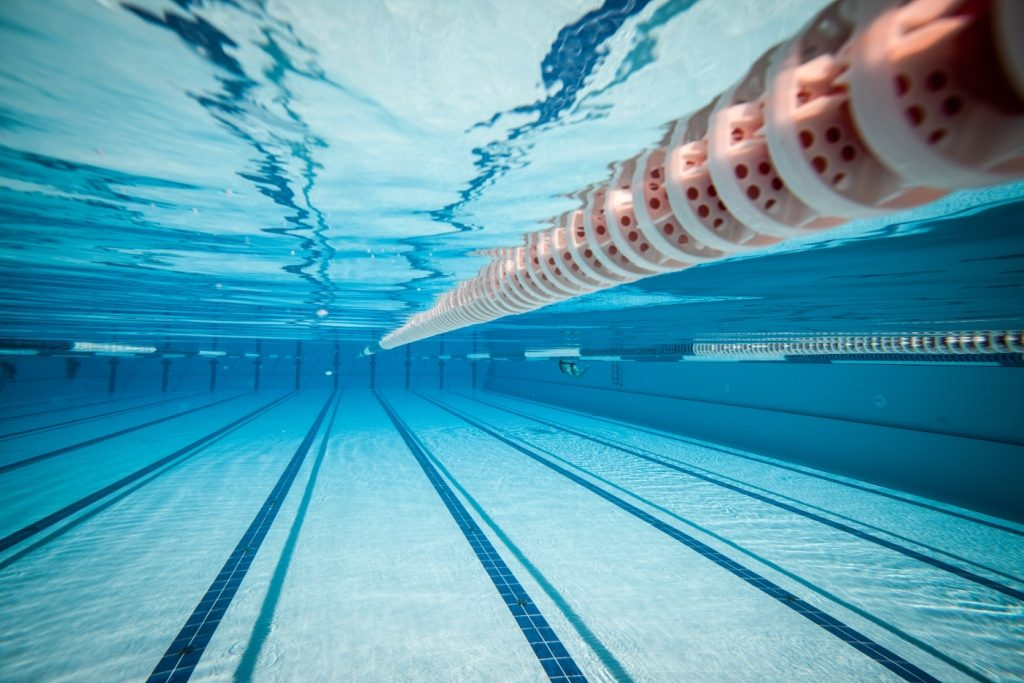 A lane divider in a swimming pool
