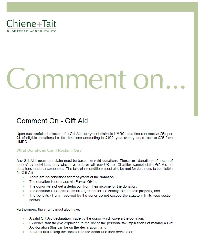 Publications chiene tait comment on gift aid negle Image collections