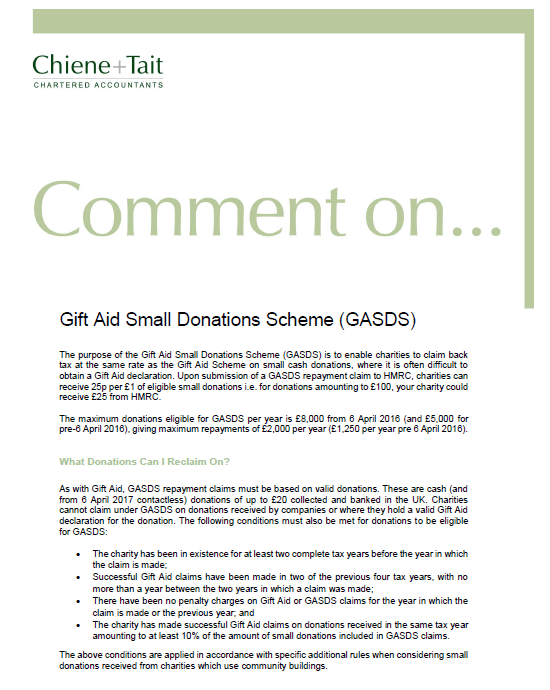 Publications chiene tait comment on gift aid small donations scheme gasds negle Image collections