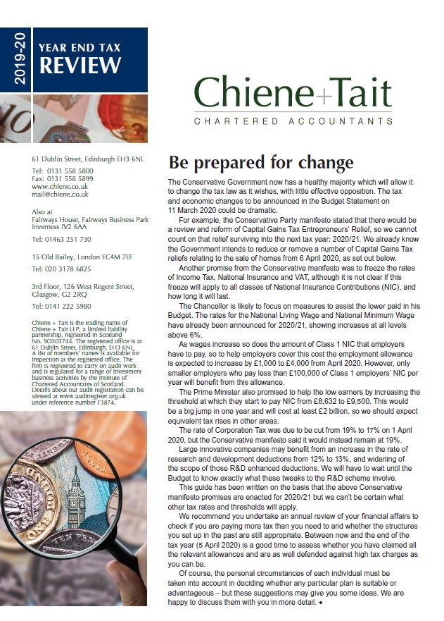 Chiene + Tait Year End Tax Review 2019 - 2020