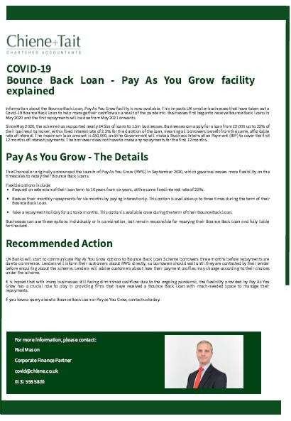Bounce Back Loan - Pay As You Grow Briefing